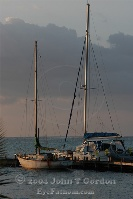 Catamaran and Sailboat at pier